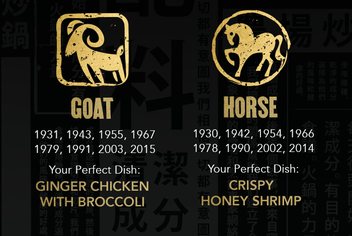 GOAT: 1931, 1943, 1955, 1967 1979, 1991, 2003, 2015 Your Perfect Dish: Ginger Chicken with Broccoli. HORSE: 1930, 1942, 1954, 1966 1978, 1990, 2002, 2014 Your Perfect Dish: CrispyHoney Shrimp