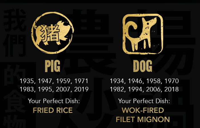 PIG: 1935, 1947, 1959, 1971 1983, 1995, 2007, 2019 Your Perfect Dish: FRIED RICE. DOG: 1934, 1946, 1958, 1970 1982, 1994, 2006, 2018 Your Perfect Dish: Wok-Fired Filet Mignon